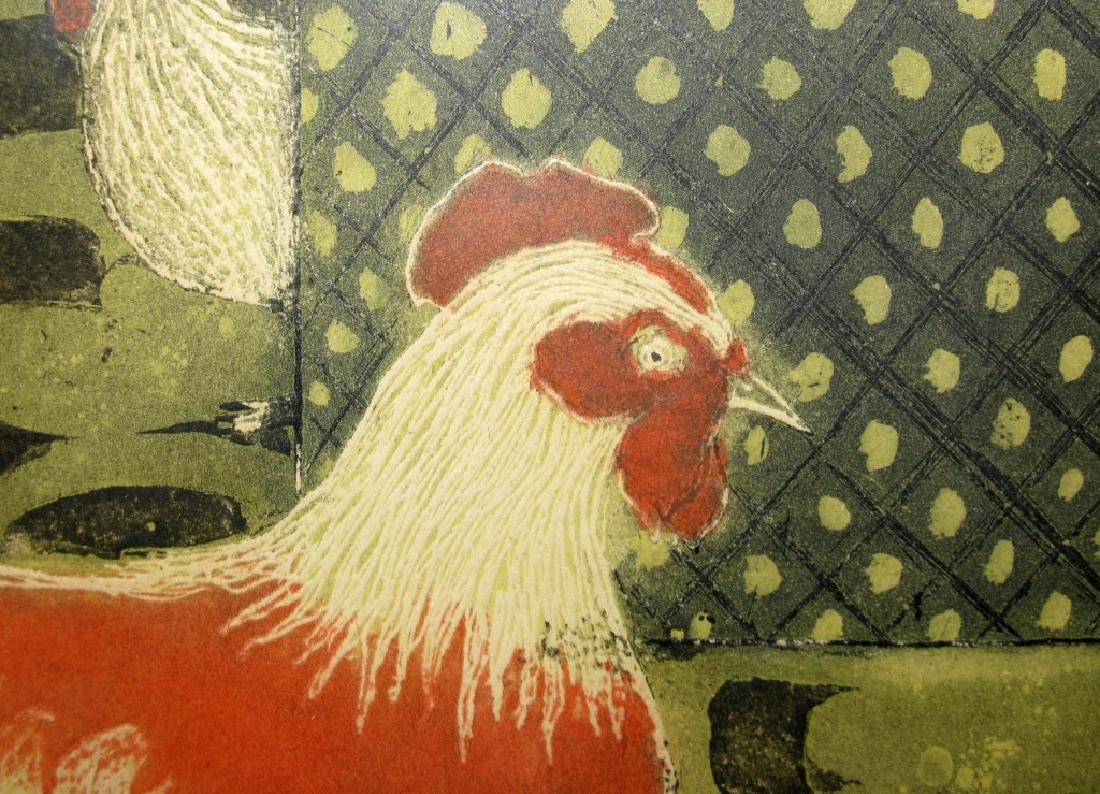 SIGNED MID-CENTURY ROOSTER INTAGLIO ETCHING - 5