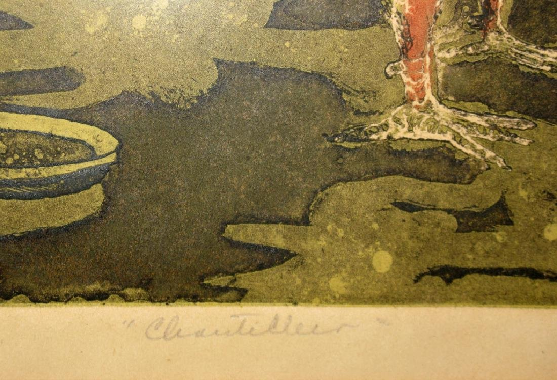 SIGNED MID-CENTURY ROOSTER INTAGLIO ETCHING - 7