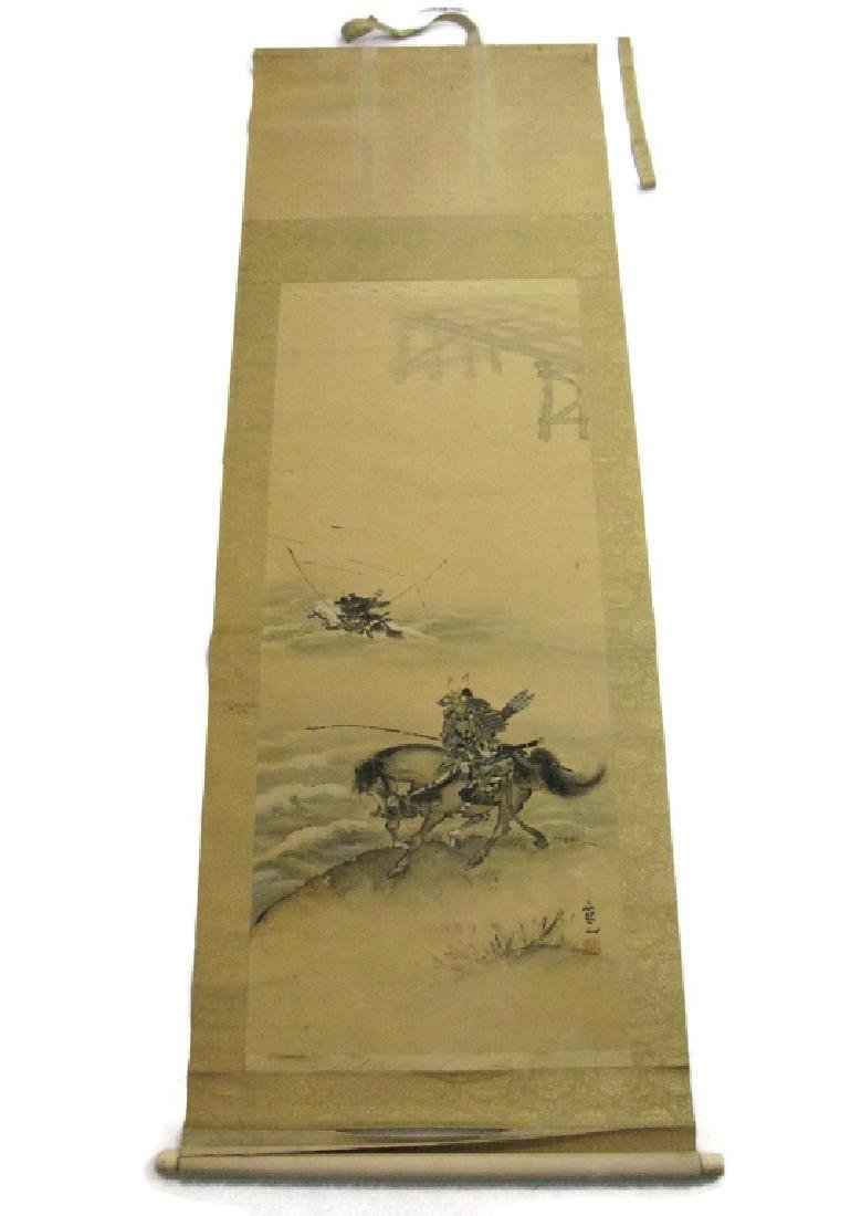 JAPANESE PAINTED SCROLL W/ SAMURAI ARCHERS - 11