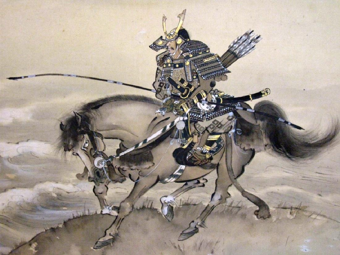 JAPANESE PAINTED SCROLL W/ SAMURAI ARCHERS - 5
