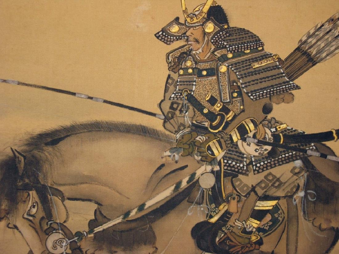 JAPANESE PAINTED SCROLL W/ SAMURAI ARCHERS - 6