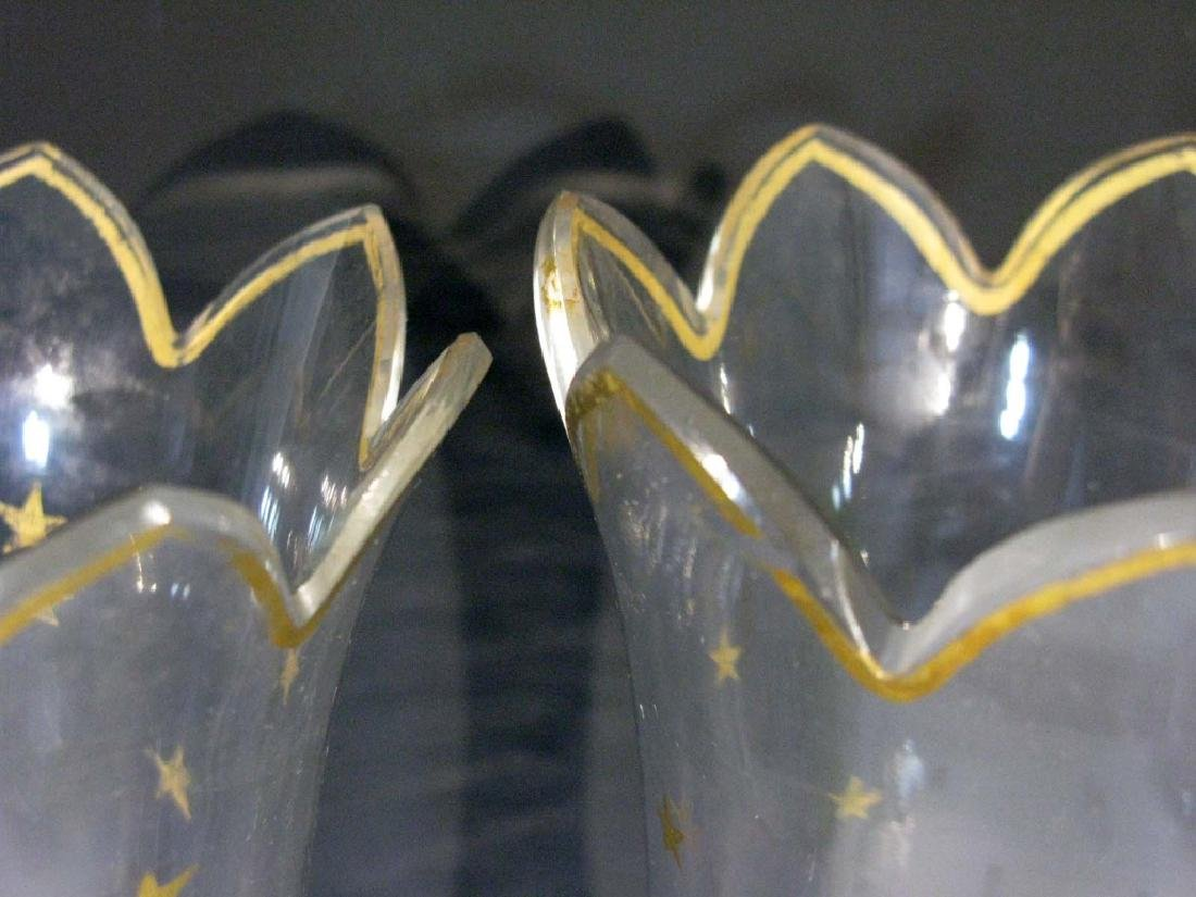 PAIR OLD GLASS LUSTER / HURRICANE SHADES W/ STARS - 3