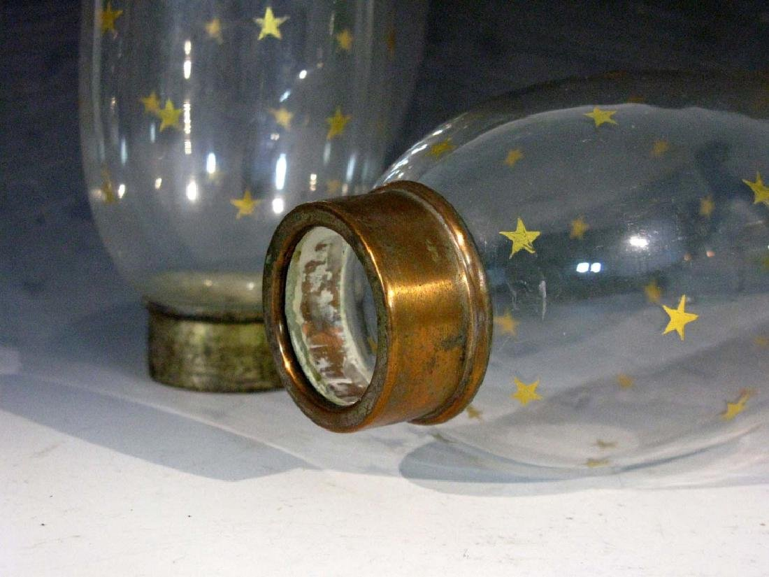 PAIR OLD GLASS LUSTER / HURRICANE SHADES W/ STARS - 4