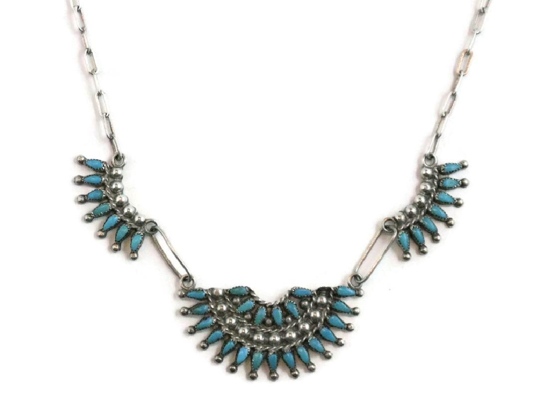 ZUNI PETTIPOINT TURQUOISE & STERLING NECKLACE