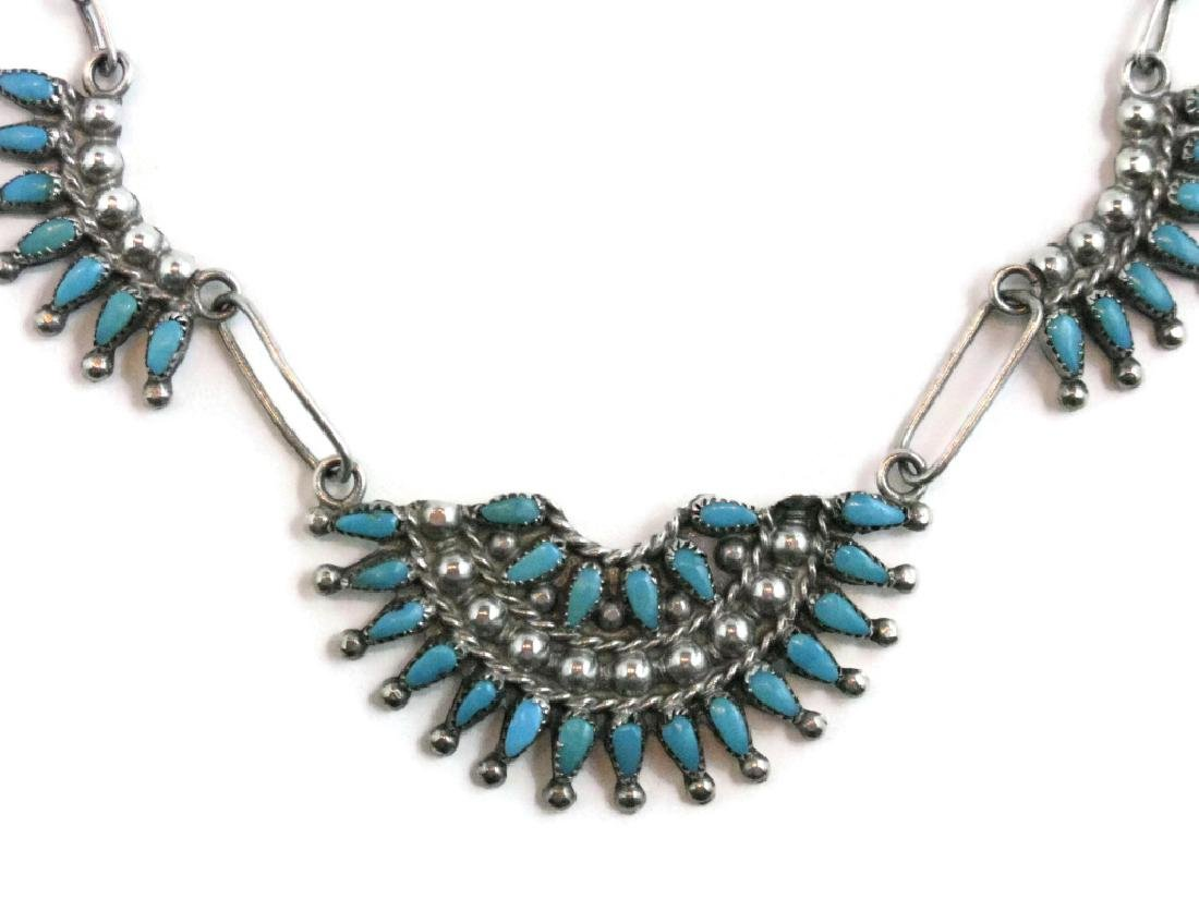 ZUNI PETTIPOINT TURQUOISE & STERLING NECKLACE - 2