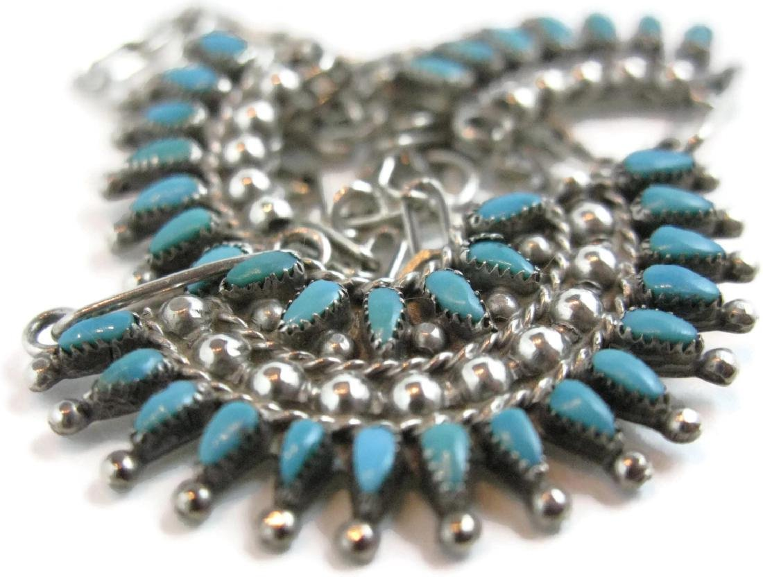 ZUNI PETTIPOINT TURQUOISE & STERLING NECKLACE - 3
