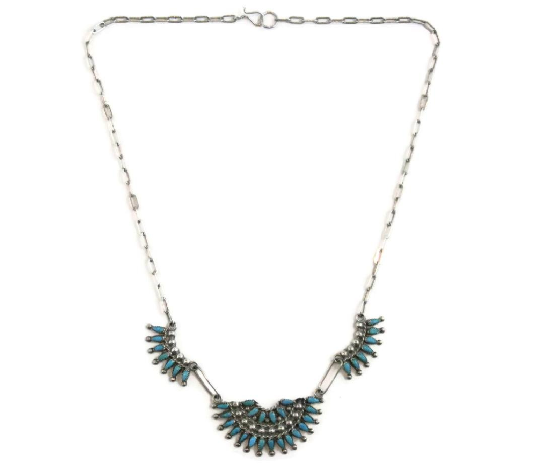 ZUNI PETTIPOINT TURQUOISE & STERLING NECKLACE - 4