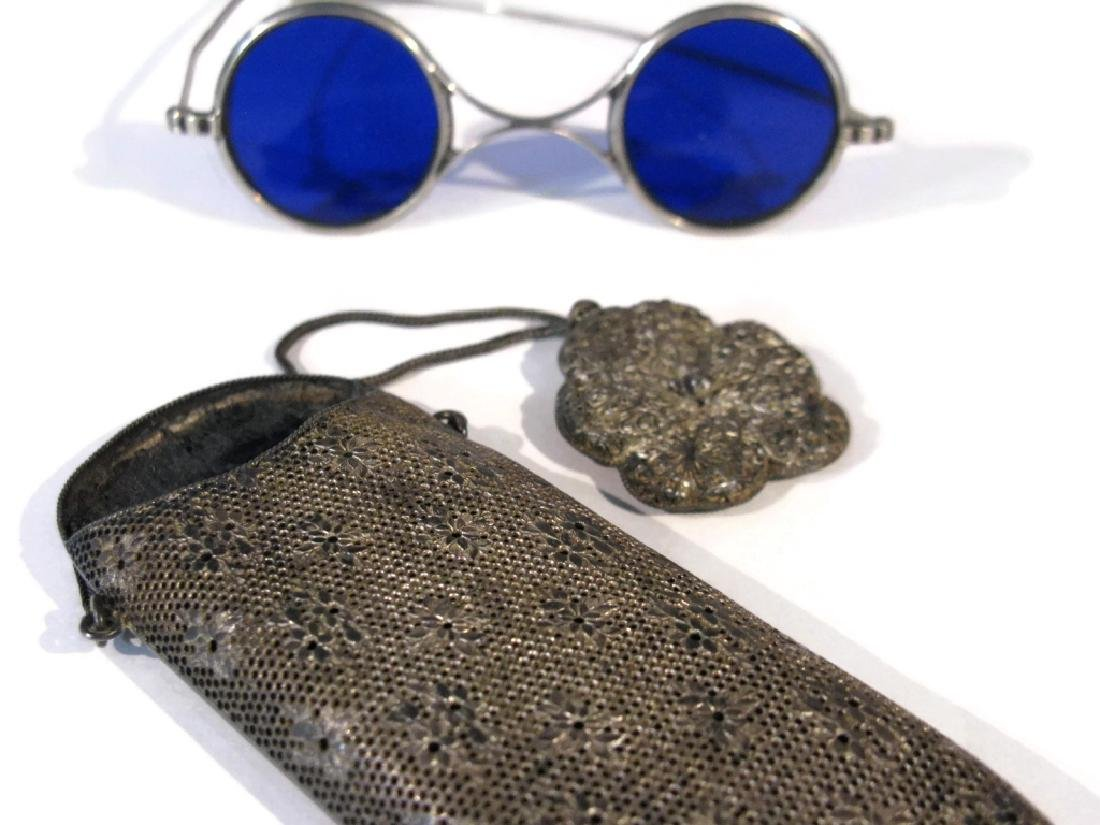 EYEGLASS HOLDER ON CHATELAINE & BLUE LENS GLASSES - 3