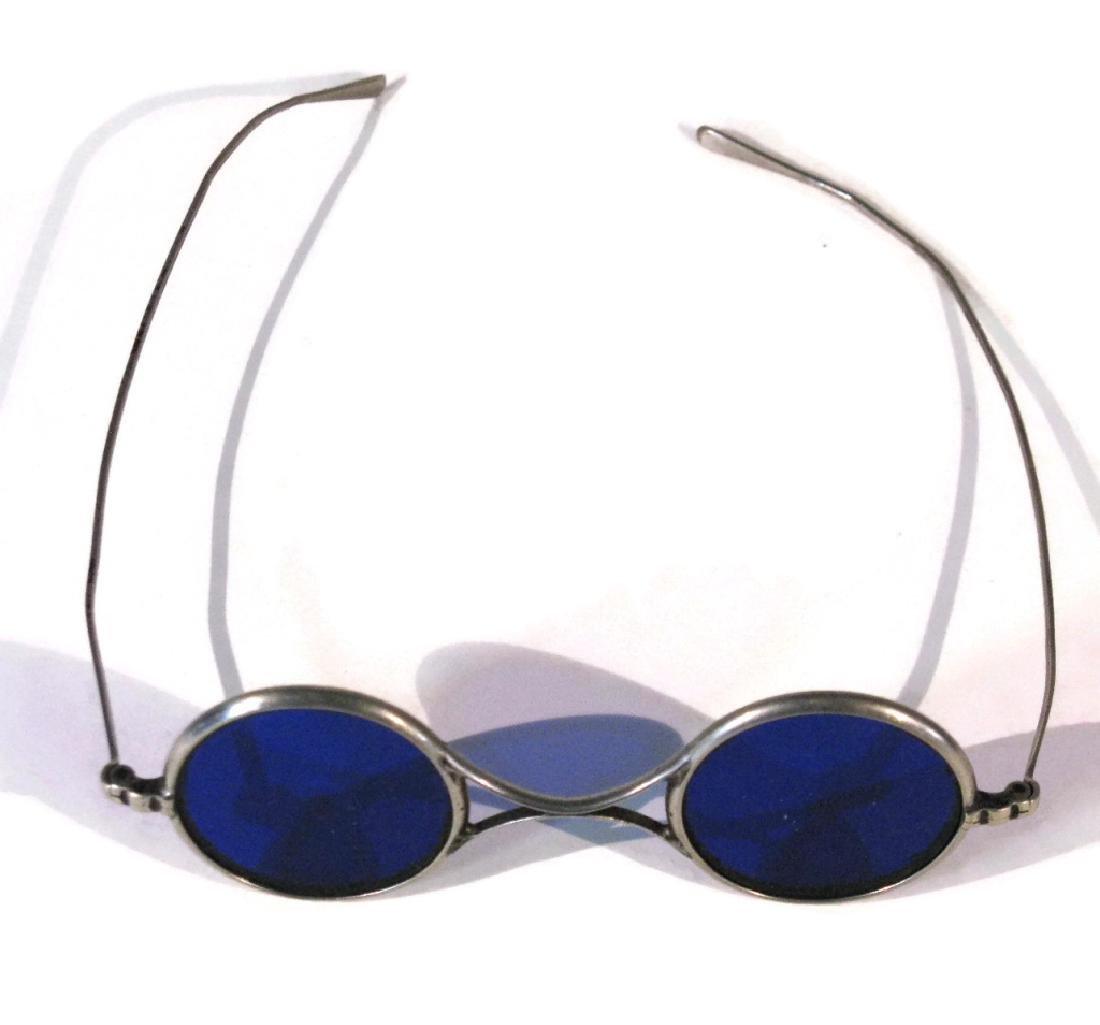 EYEGLASS HOLDER ON CHATELAINE & BLUE LENS GLASSES - 5