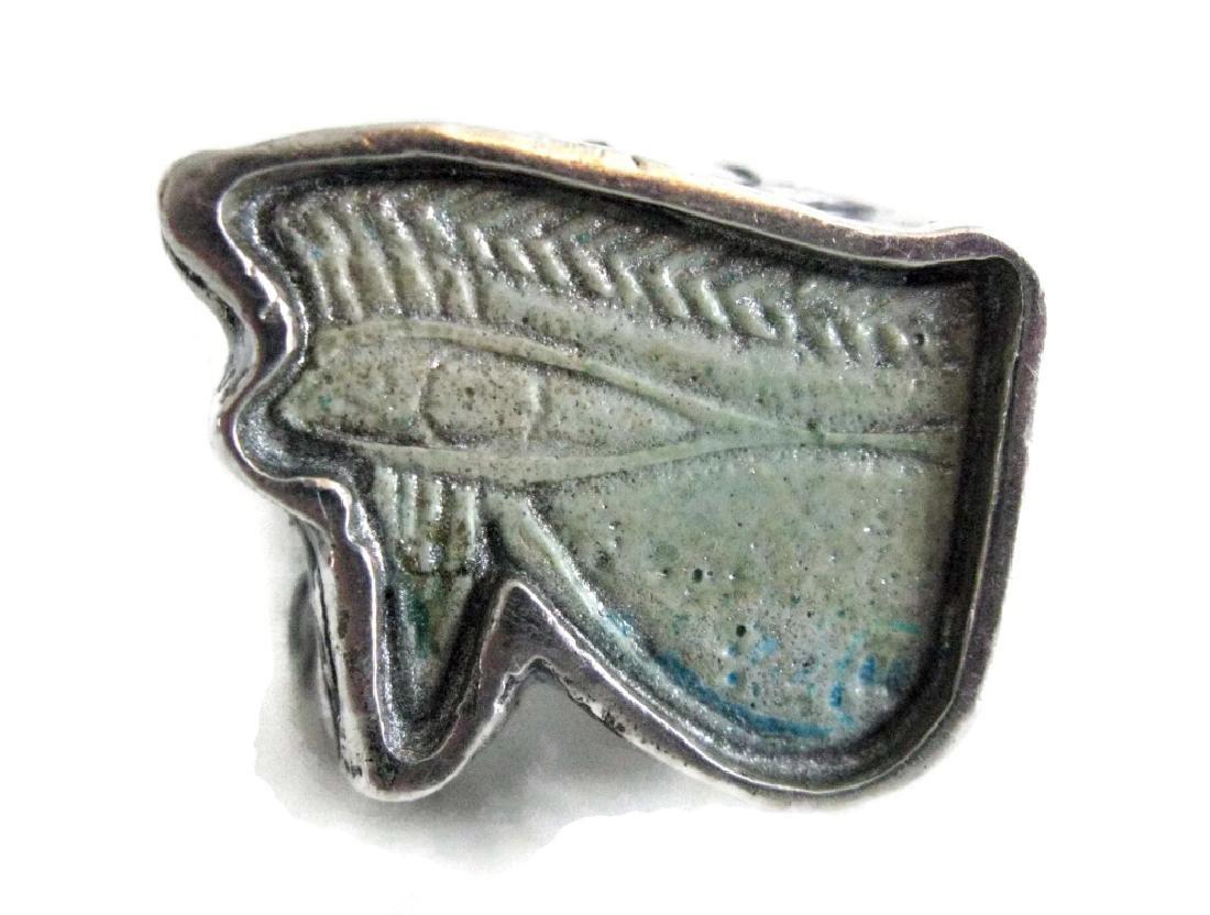 EGYPTIAN FAIENCE WEDJAT HORUS AMULET RING