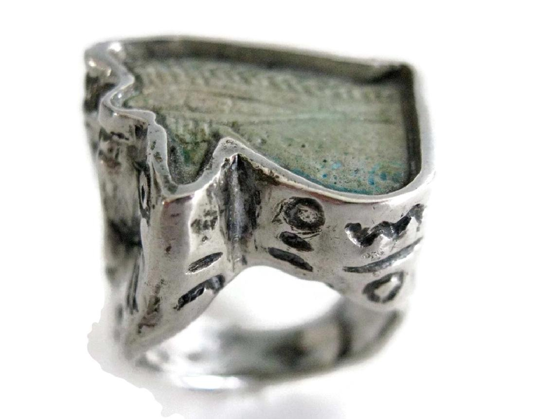 EGYPTIAN FAIENCE WEDJAT HORUS AMULET RING - 2