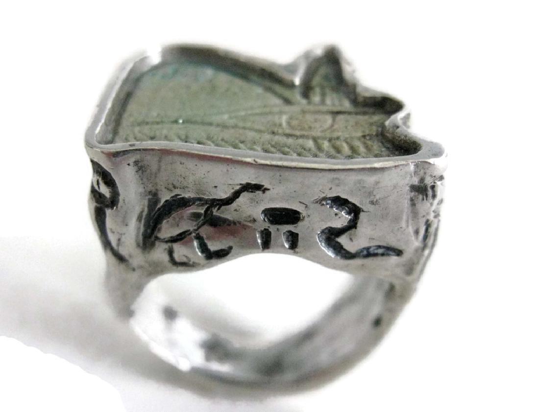 EGYPTIAN FAIENCE WEDJAT HORUS AMULET RING - 3