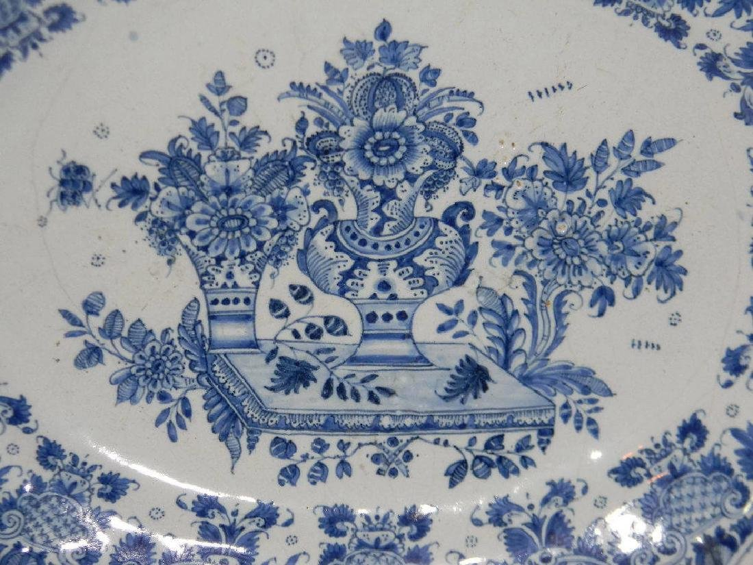18TH C BLUE AND WHITE DELFT FAIENCE PLATTER - 2