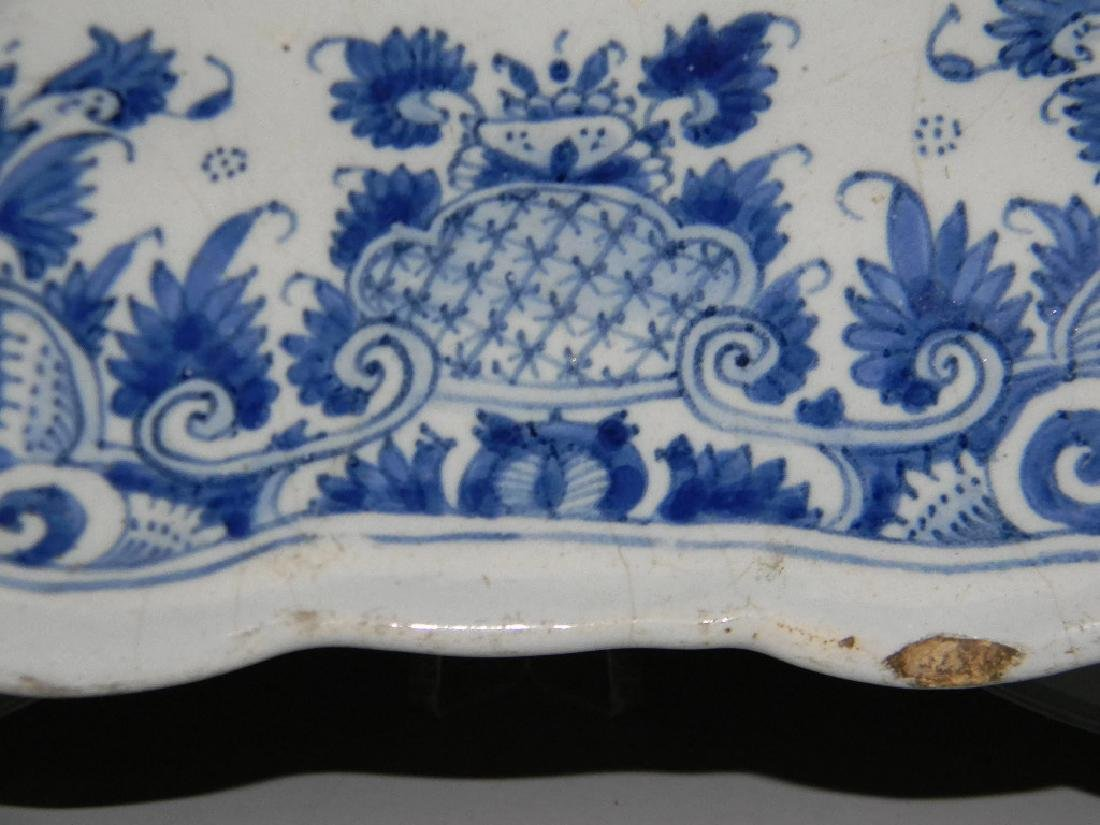 18TH C BLUE AND WHITE DELFT FAIENCE PLATTER - 3