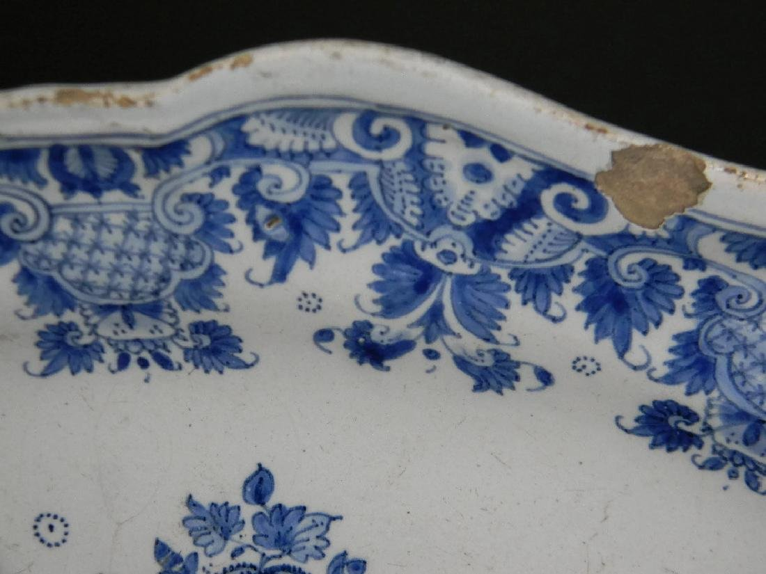 18TH C BLUE AND WHITE DELFT FAIENCE PLATTER - 4