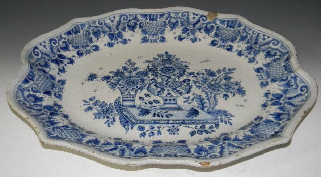18TH C BLUE AND WHITE DELFT FAIENCE PLATTER - 6