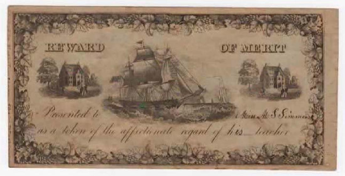 C. 1846 REWARD OF MERIT NATHANIEL DEARBORN