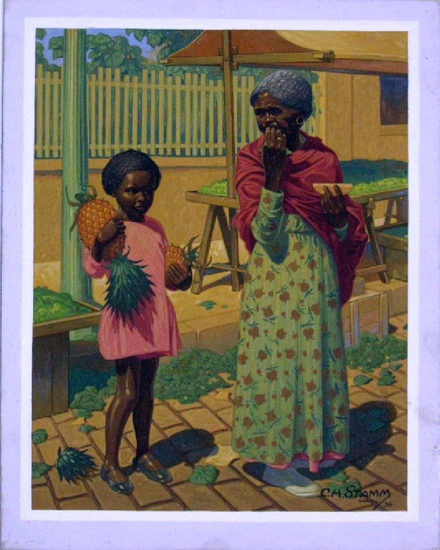 CLARENCE BIMM STAM GOUACHE FIGURATIVE PAINTING - 3