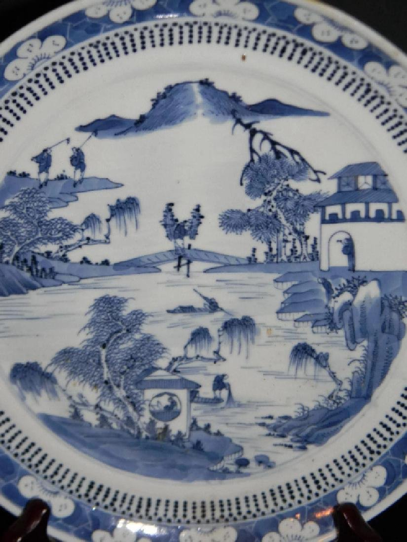 CHINESE EXPORT CERAMIC BLUE AND WHITE PLATE - 2