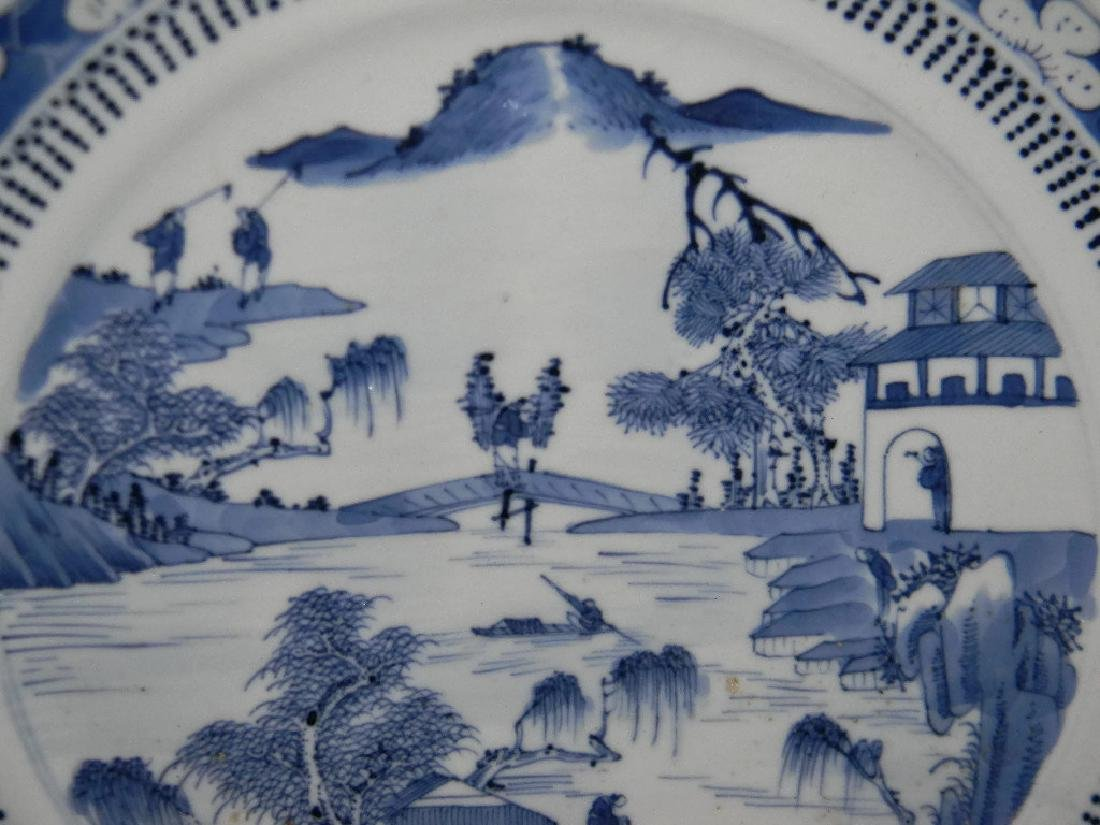 CHINESE EXPORT CERAMIC BLUE AND WHITE PLATE - 3