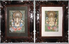 2 HINDU GANESHA GOUACHE PAINTINGS WOOD FRAMES