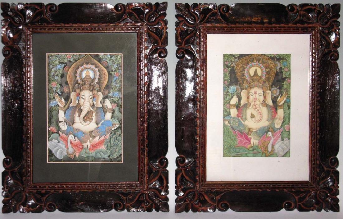 2 HINDU GANESHA GOUACHE PAINTINGS WOOD FRAMES