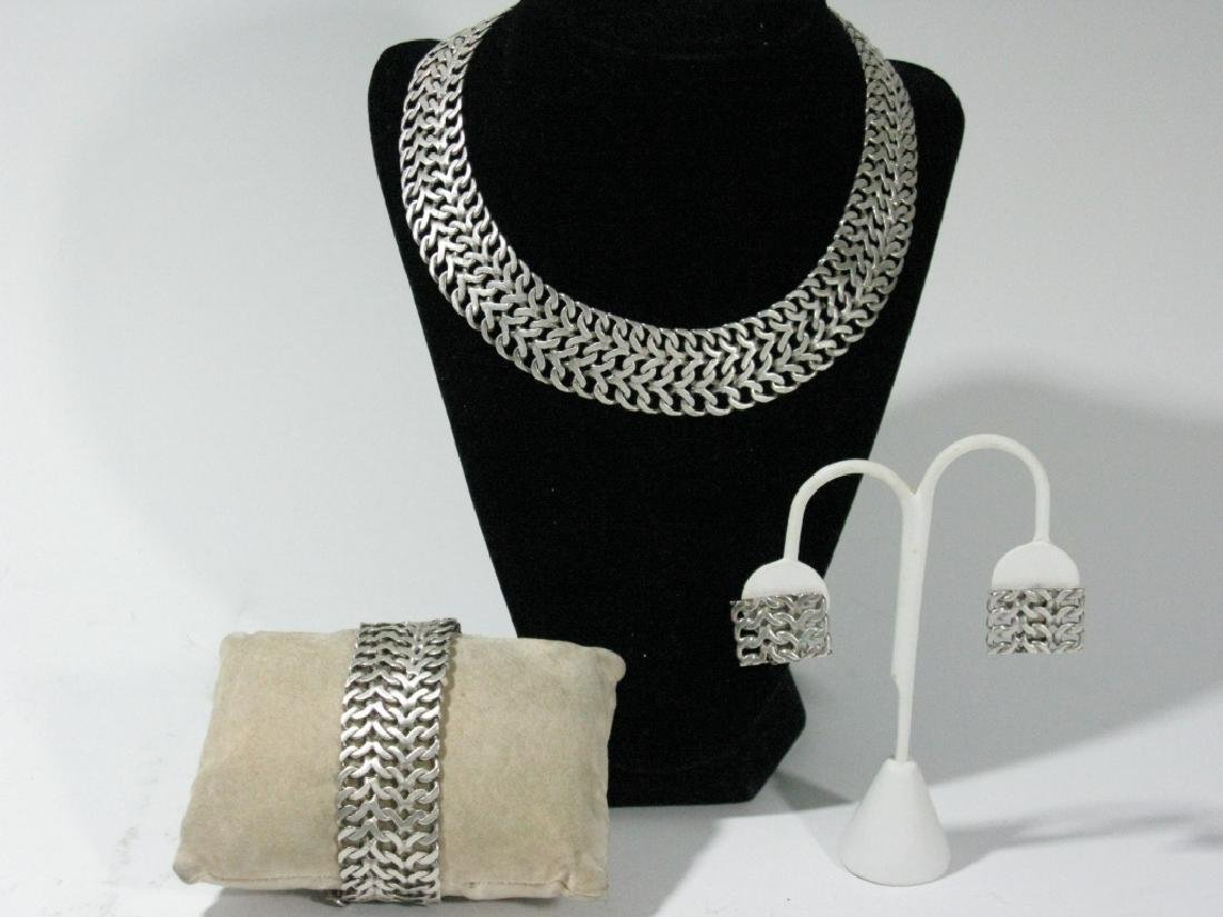 VINTAGE SIGNED STERLING MEXICO JEWELRY SUITE