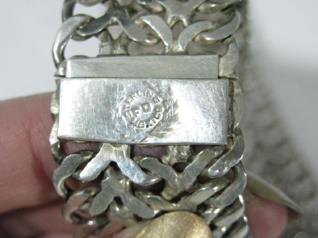 VINTAGE SIGNED STERLING MEXICO JEWELRY SUITE - 5