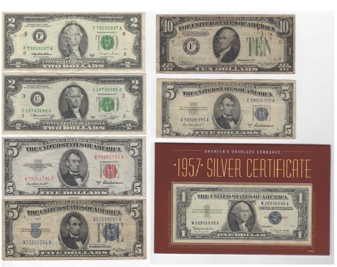 $1 $5 $10 SILVER CERTIFICATE DOLLARS & $2 BILLS
