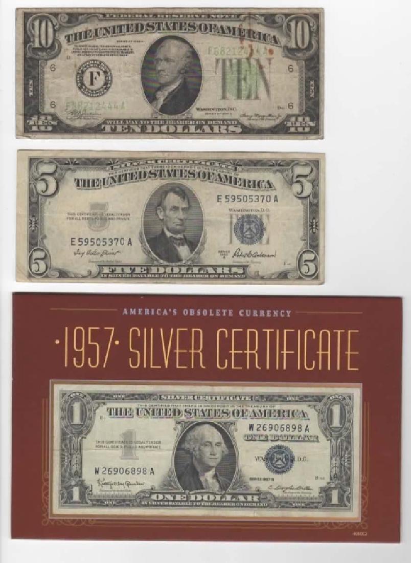 $1 $5 $10 SILVER CERTIFICATE DOLLARS & $2 BILLS - 4