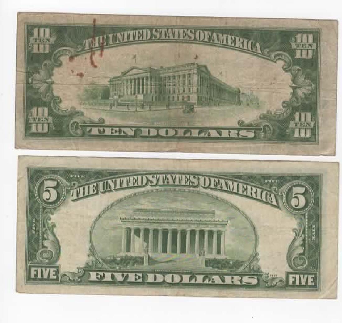 $1 $5 $10 SILVER CERTIFICATE DOLLARS & $2 BILLS - 5