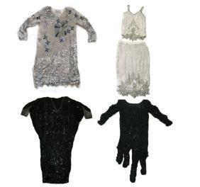 4 @ 1980s Silk Dresses / Skirt & Sequins & Beads