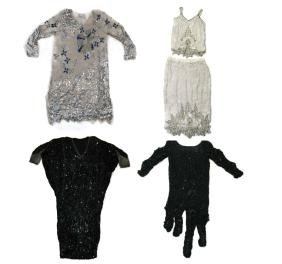4 @ 1980s SILK DRESSES / SKIRT & SEQUINS & BEADS