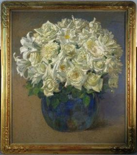 GEORGES BRASSEUR PAINTING WHITE ROSES & LILIES