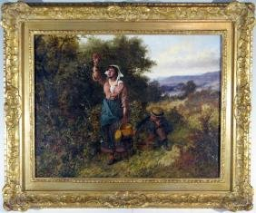 WILLIAM BROMLEY OIL ON CANVAS GENRE PAINTING