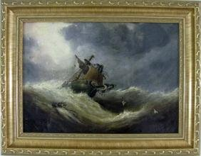 JOHN BLAND OIL ON CANVAS STORMY SHIPWRECK SEASCAPE