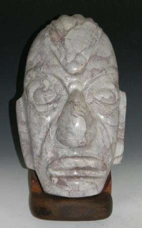 SOUTH AMERICA CARVED HARDSTONE EFFIGY HEAD