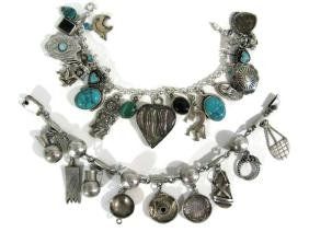 2 .925 CHARM BRACELETS NATIVE AMERICAN & MEXICO