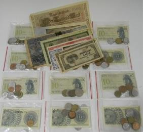 GROUP OF WORLD PAPER CURRENCY & COINS