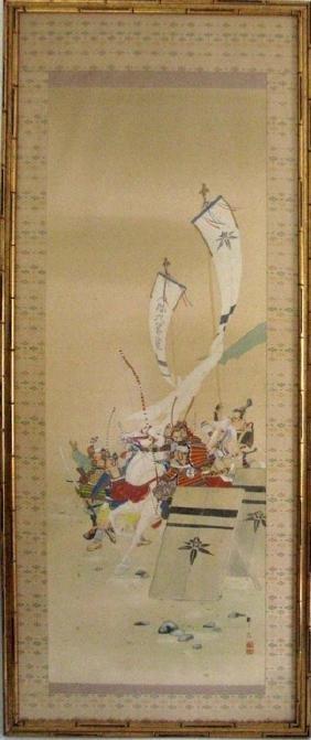 JAPANESE PAINTED SILK SCROLL SAMURAI ON HORSEBACK
