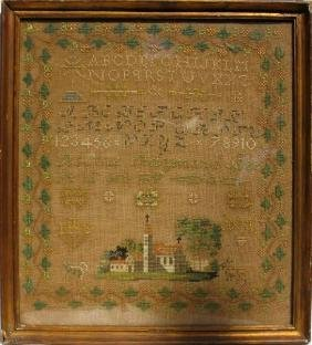 1861 CROSS STITCH SAMPLER ROSINE RAYMOND AGEE