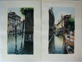 2 @ SIGNED WATERCOLOR PAINTINGS VENICE ITALY