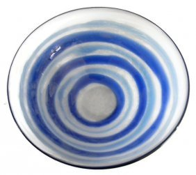 ARONZON BLUE AND WHITE ART GLASS CENTERPIECE BOWL
