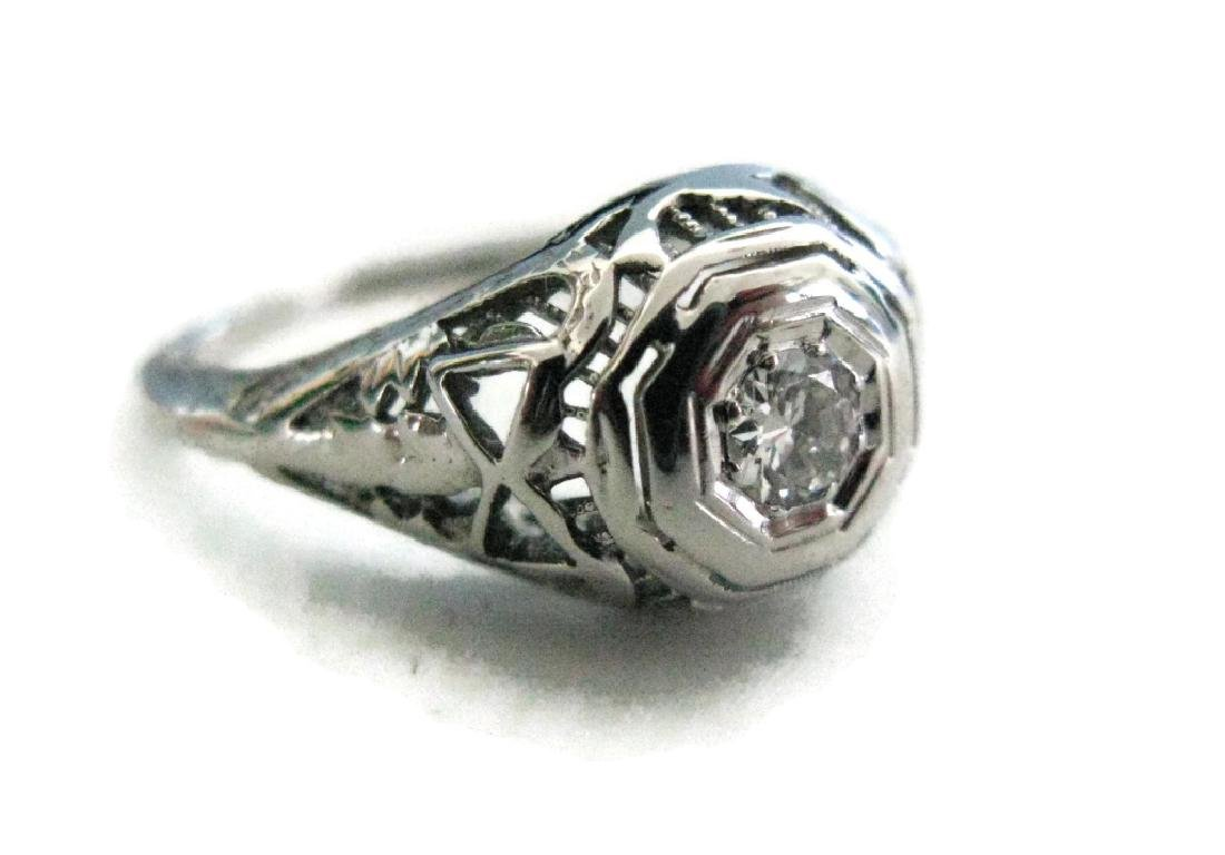 EDWARDIAN 18K WHITE GOLD .5CT DIAMOND RING