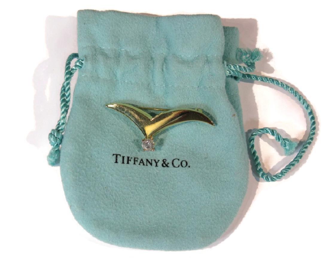TIFFANY & CO 18K GOLD & DIAMOND SEAGULL BROOCH