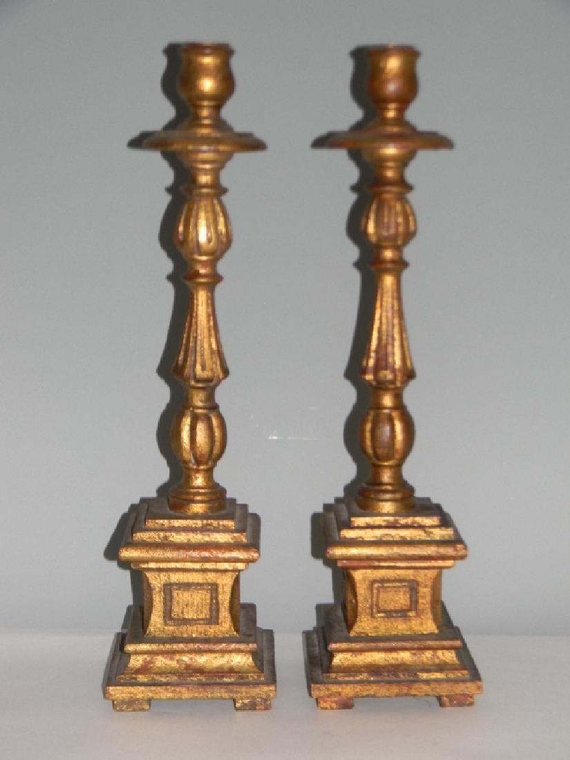 """PAIR CARVED AND GILDED WOOD CANDLESTICKS 18.5""""H"""
