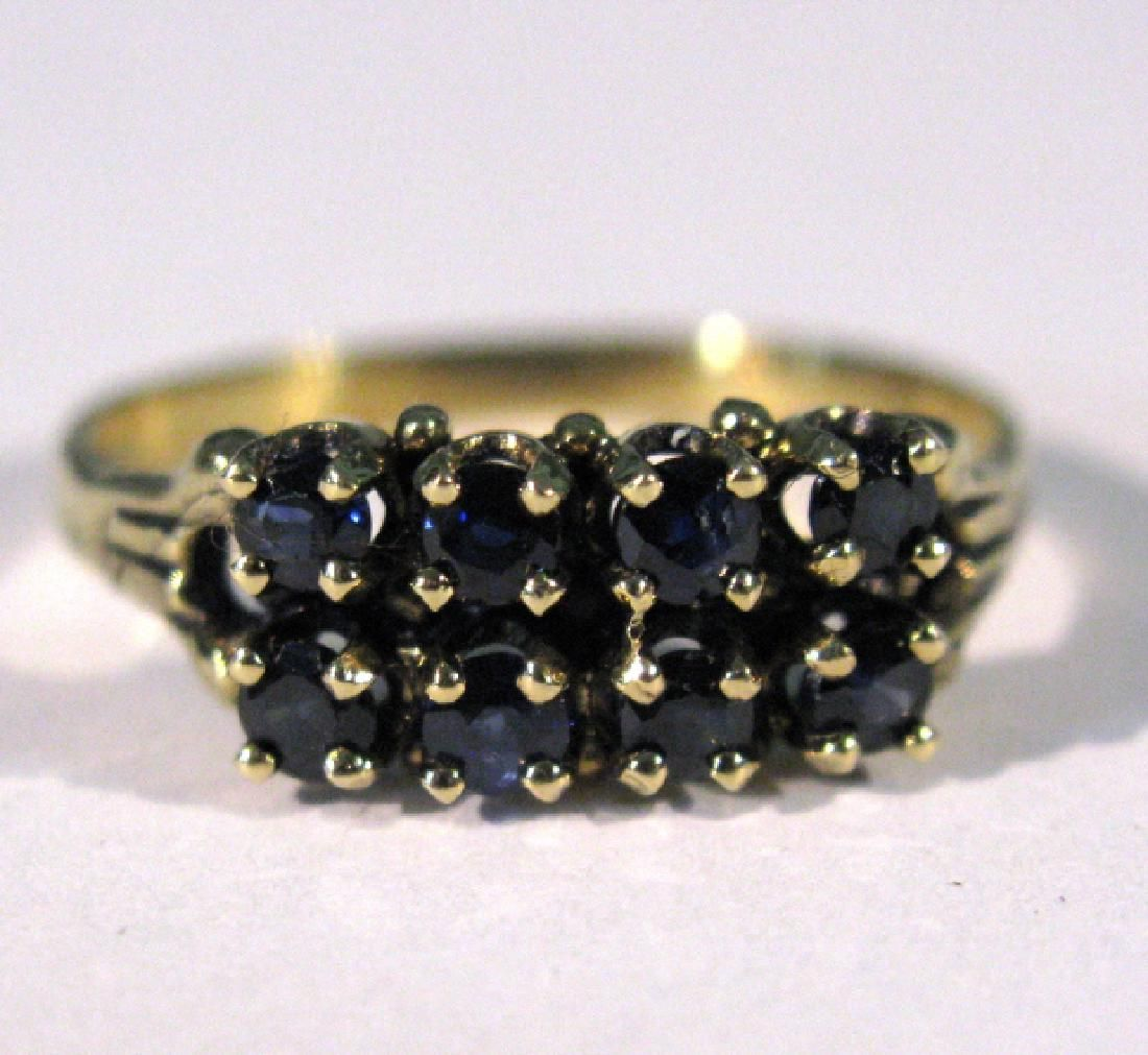 ANTIQUE 14K GOLD RING WITH DEEP BLUE SAPPHIRES