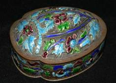 CHINESE EXPORT SILVERED ENAMELED MIRROR BOX