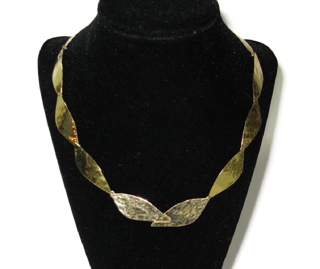 18K GOLD SIGNED CONVERTIBLE LAUREL LEAF NECKLACE