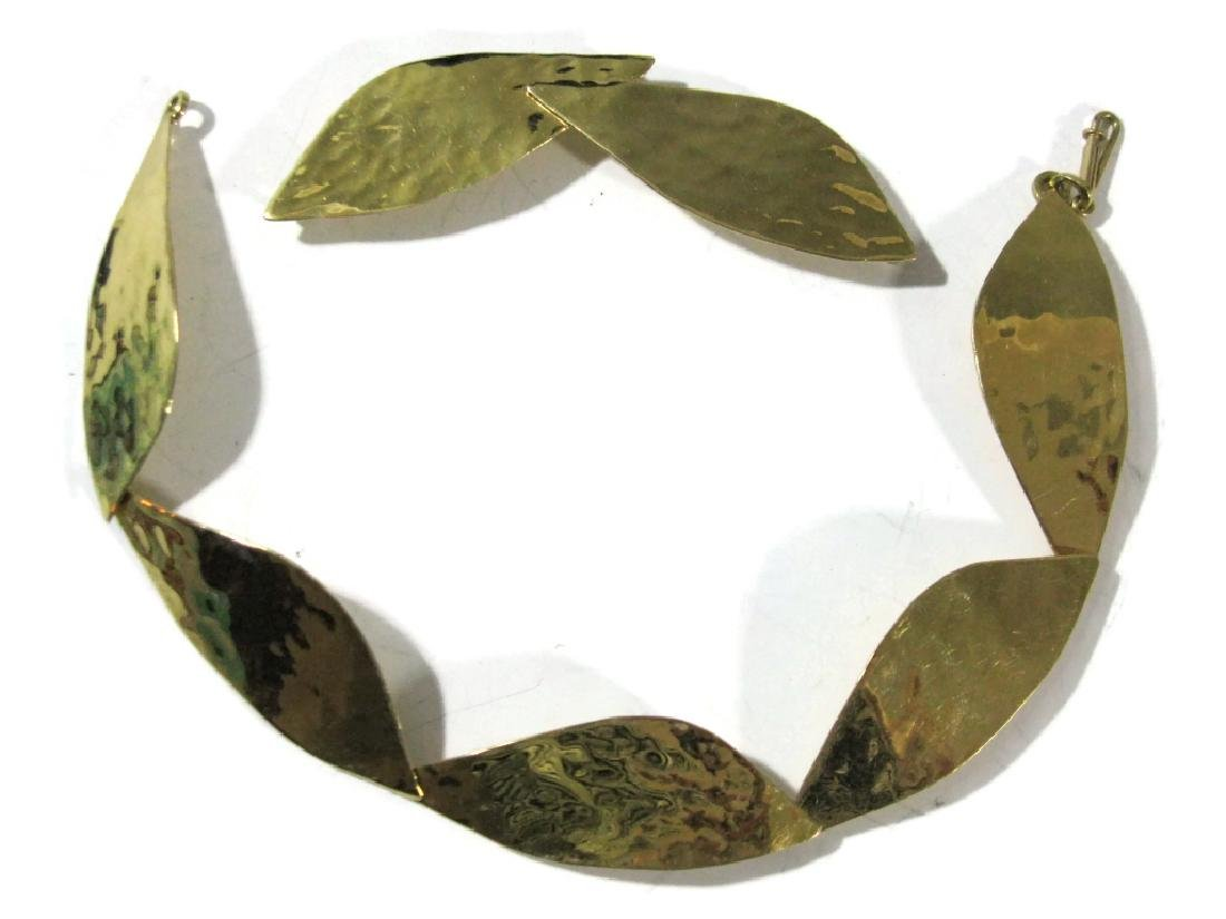 18K GOLD SIGNED CONVERTIBLE LAUREL LEAF NECKLACE - 2